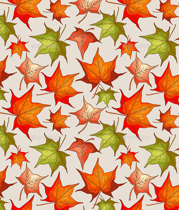 GraphicRiver Seamless Pattern with Autumn Leaves 9606253