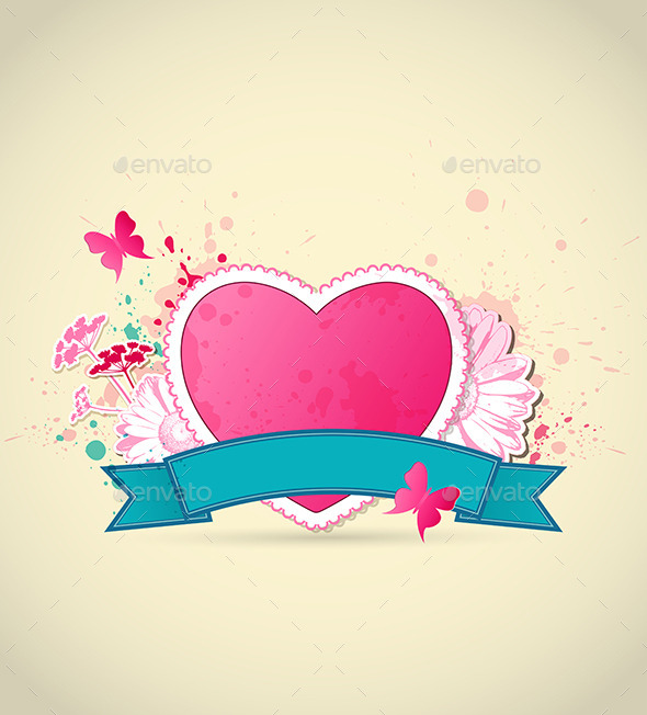 GraphicRiver Pink Heart and Flowers for Valentine s Day 9606415
