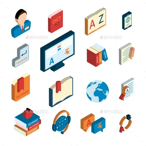 GraphicRiver Translation and Dictionary Icons Set 9606416