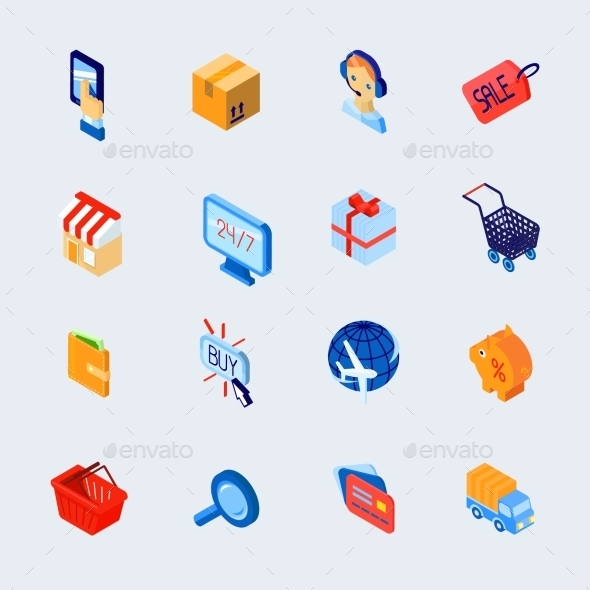 GraphicRiver Shopping E-Commerce Icons Set Isometric 9606424