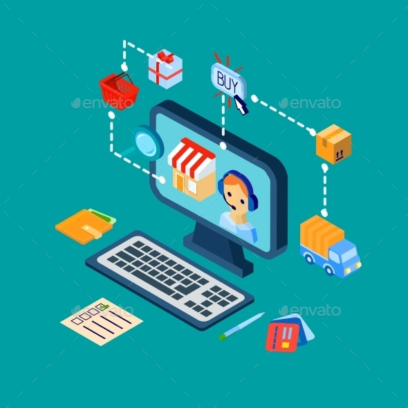GraphicRiver Shopping E-Commerce Icons Set Isometric 9606430