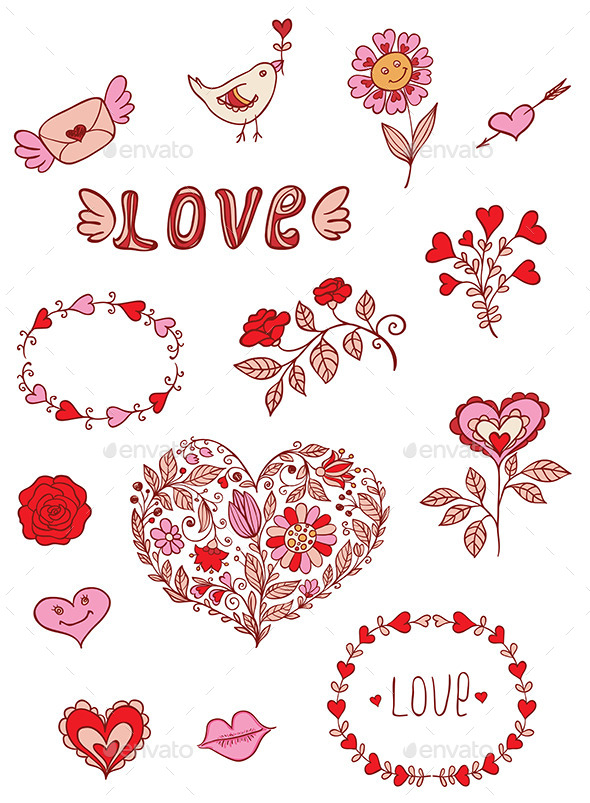 GraphicRiver Romantic Doodle Elements 9606433