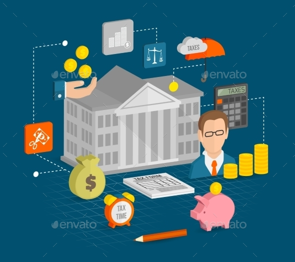 GraphicRiver Tax Icons Isometric 9606436