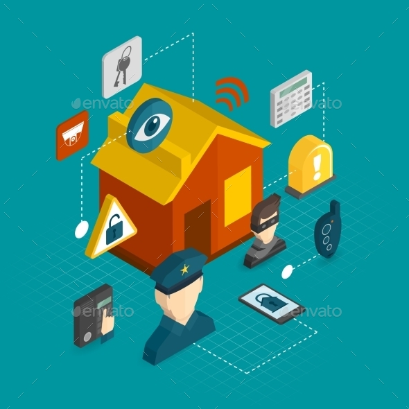 GraphicRiver Home Security Isometric Icons 9606468