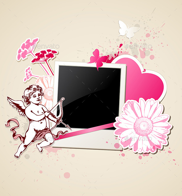 GraphicRiver Background with Photo and Cupid 9606506