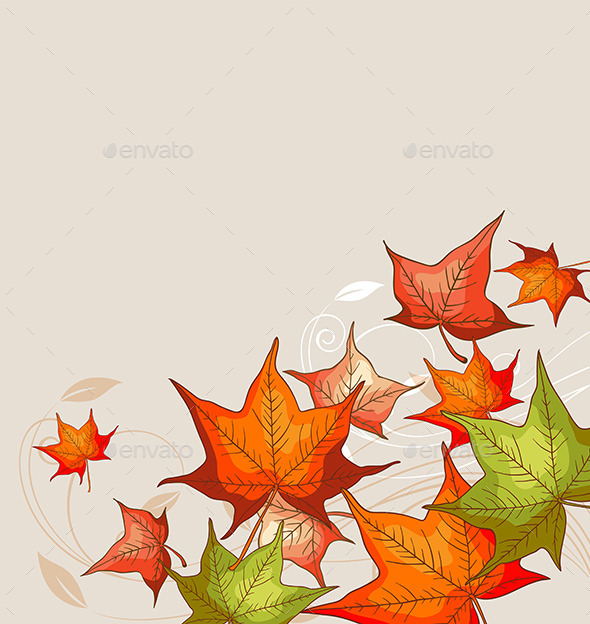 GraphicRiver Background with Red Maple Leaves 9606555