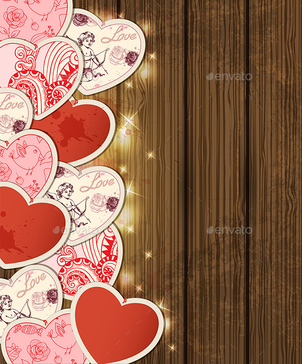 GraphicRiver Background with Hearts for Valentine s Day 9606590