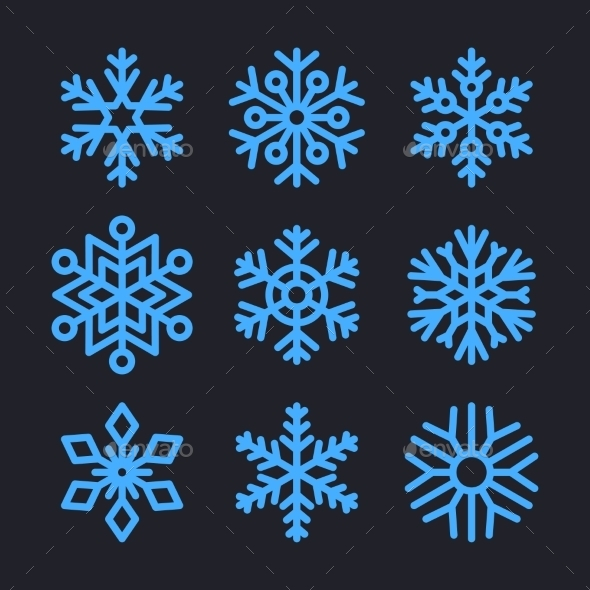 Snowflakes Set for Christmas Winter Design