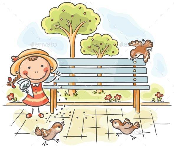GraphicRiver Girl feeding Sparrows in the Park 9606947