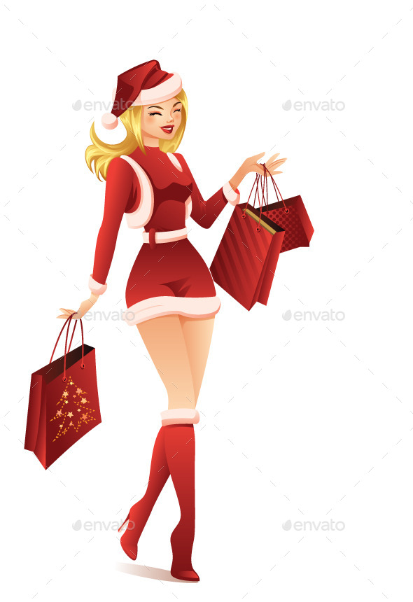 GraphicRiver Woman Shopping for Christmas 9606988
