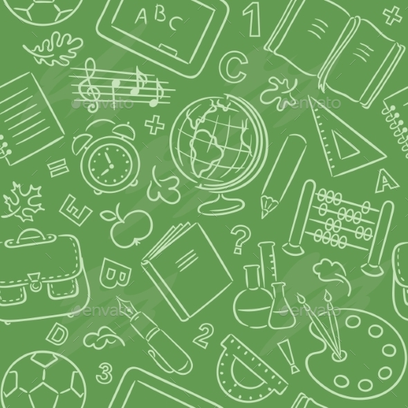GraphicRiver School Objects Pattern 9607599