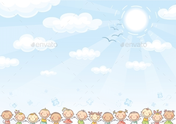 GraphicRiver Background with Sky and Children 9607784