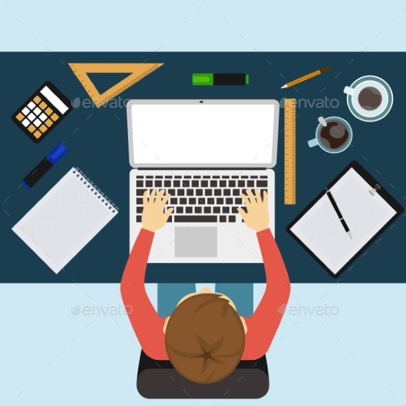 GraphicRiver Businessman Working with Laptop and Documents 9608145