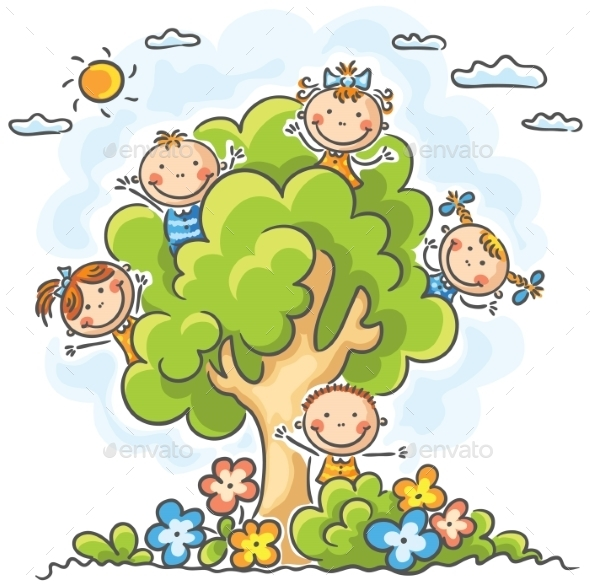 GraphicRiver Kids playing in the Tree 9608591