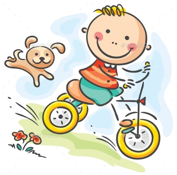GraphicRiver Boy riding his tricycle 9608725