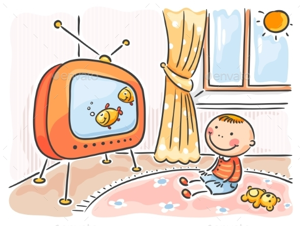 GraphicRiver Child watching TV in his room 9608729