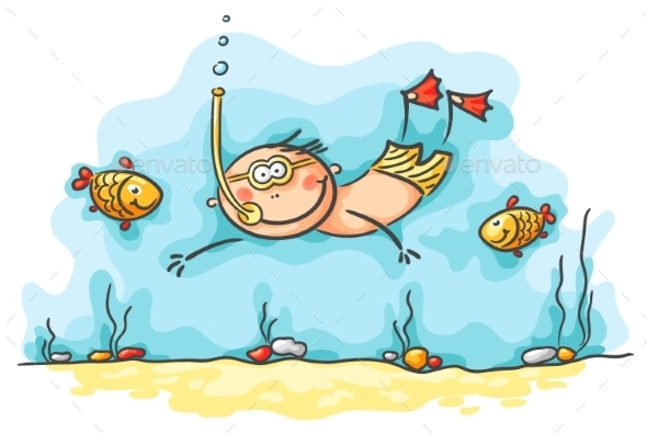 GraphicRiver Happy Diver Swimming Underwater with Fishes 9608733