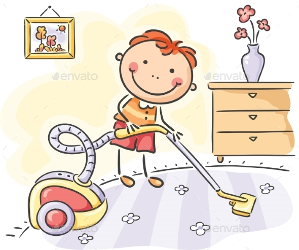 GraphicRiver Boy helping his parents with the housework 9608737