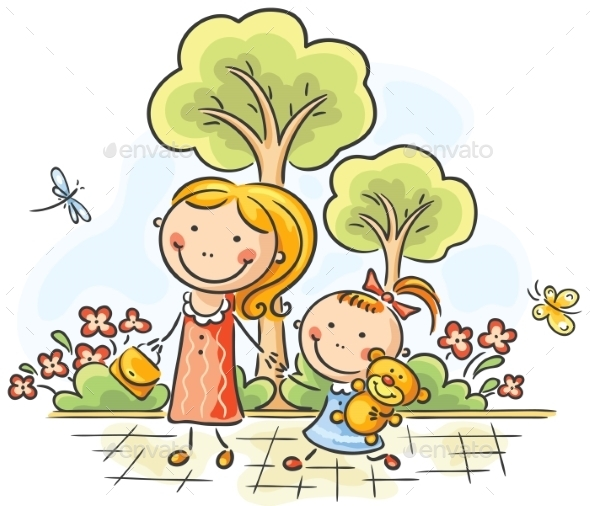 GraphicRiver Mother and daughter walking in the park 9608755