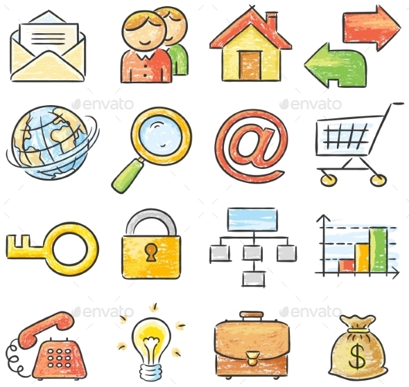 GraphicRiver Hand-drawn Web and Business Icons 9608769