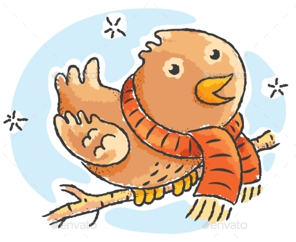 Cartoon bird wearing scarf on a winter day