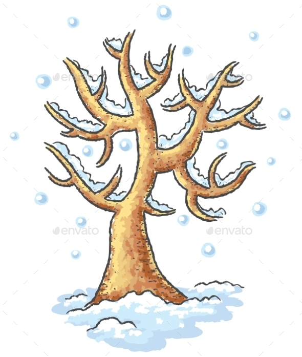 GraphicRiver Winter tree drawing 9608801