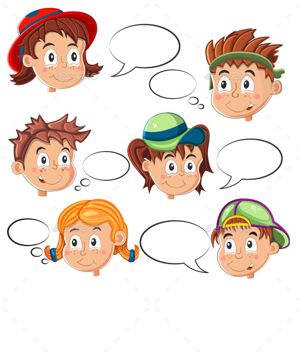 Children s Faces with Speech Bubbles