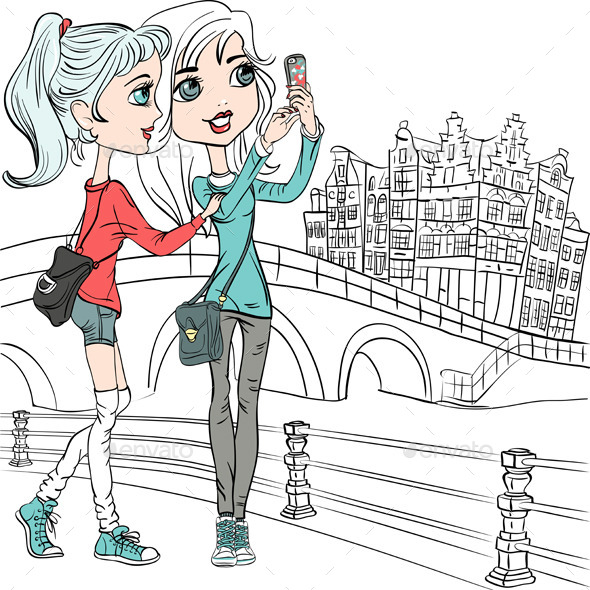 GraphicRiver Girls Make Selfie in Amsterdam 9609114