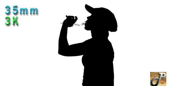 Silhouette Of Woman Drinking From Water Bottle