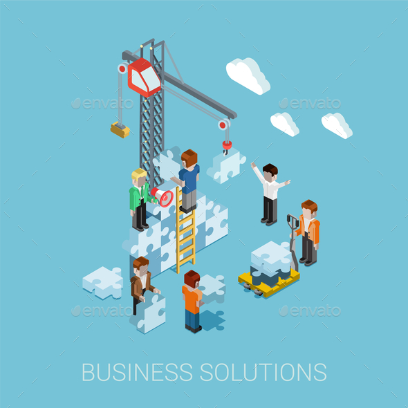 GraphicRiver Flat 3D Isometric Business Solutions 9609230