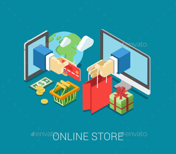 GraphicRiver Flat 3D Isometric E-Commerce Web Infographic 9609233