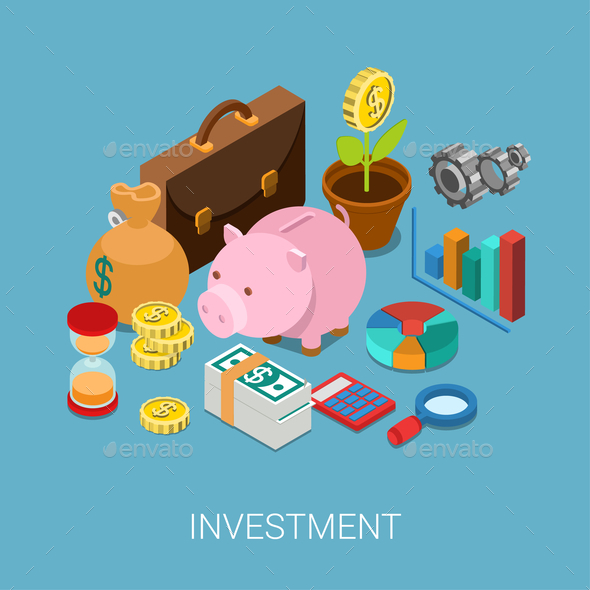 GraphicRiver Flat 3D Isometric Investment Savings Finance 9609237