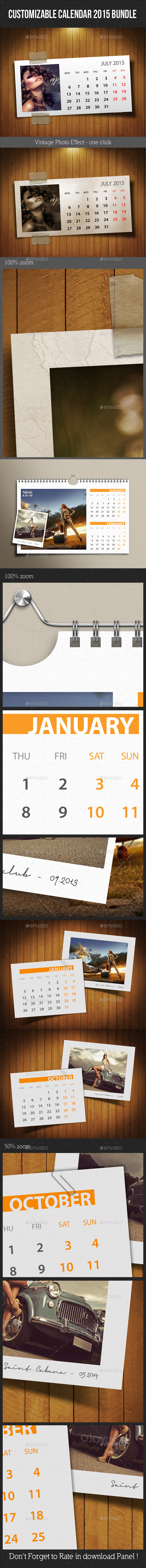 GraphicRiver 3 in 1 Customizable Calendar 2015 Bundle 9609272