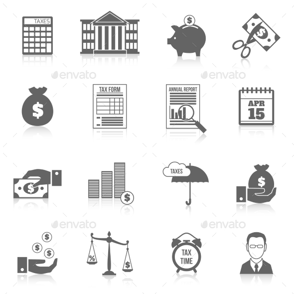 GraphicRiver Tax icons set 9609725