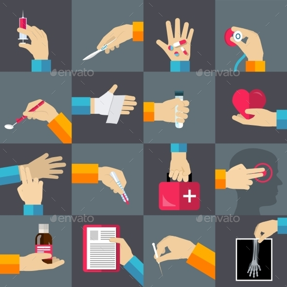 GraphicRiver Medical hands flat icons set 9609739