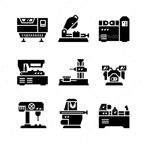 GraphicRiver Set Icons of Machine Tool 9609797