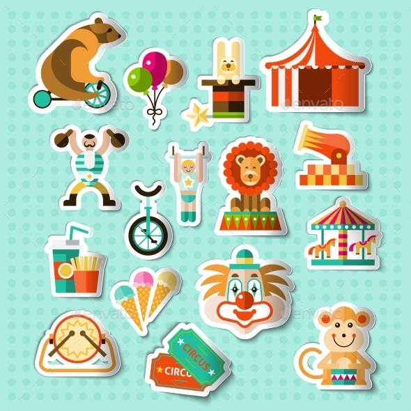 GraphicRiver Circus Stickers Set 9609820