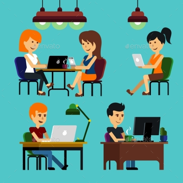 GraphicRiver People Sitting in Office 9609884