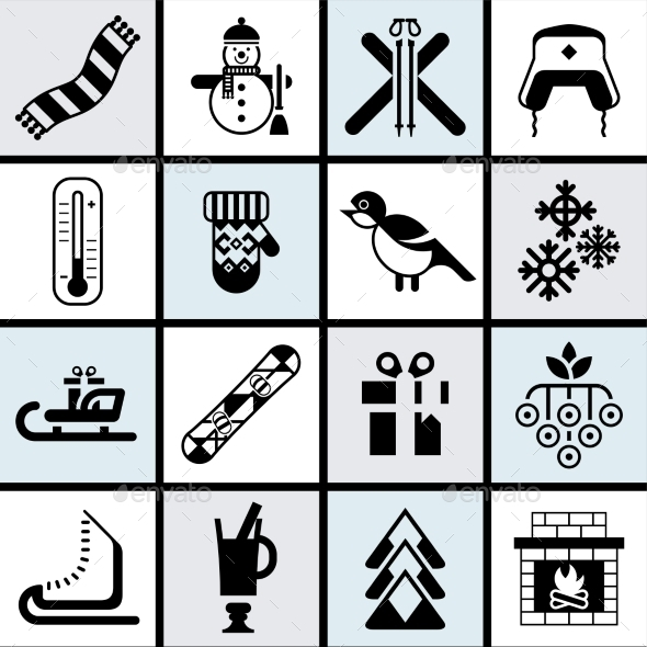 GraphicRiver Winter Icons Set 9609886