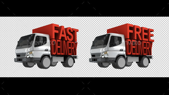 Delivery Van With Fast Delivery Letters On Back