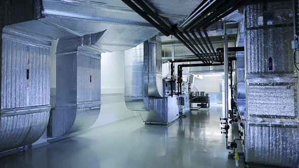 Industrial Ventilation Ducting : Ventilation system on the technical floor by motionteam
