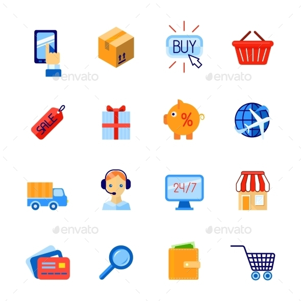 GraphicRiver Shopping E-Commerce Icons Set 9610218