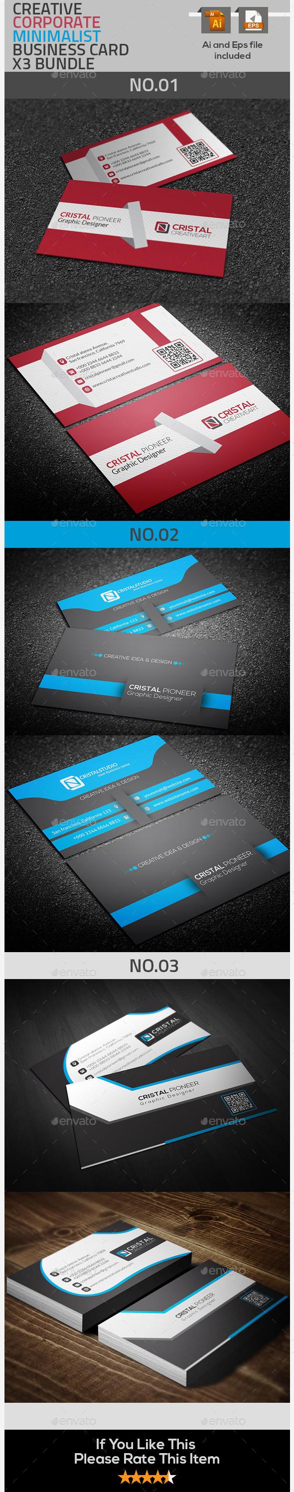GraphicRiver Corporate & Creative Business Card X3 Bundle 9610237