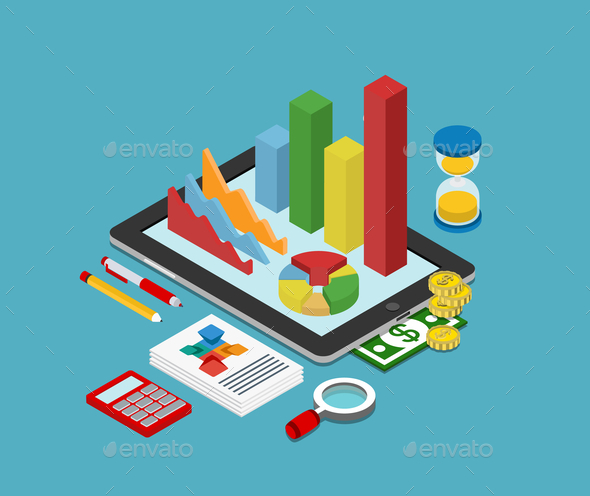 GraphicRiver Flat 3D Isometric Business Finance Graphic 9610287