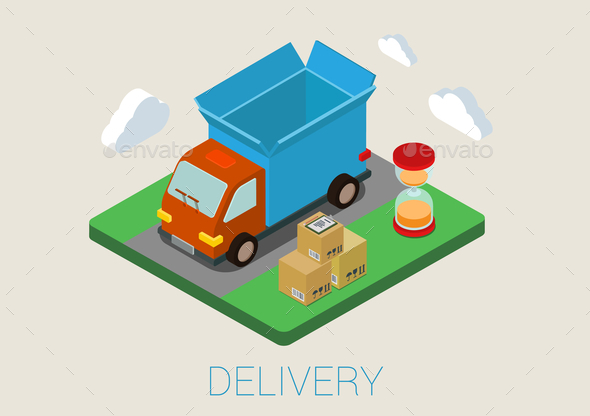 GraphicRiver Flat 3D Isometric Delivery Van 9610296