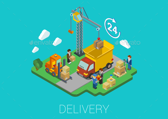 GraphicRiver Flat 3D Isometric Delivery Loading Concept 9610297