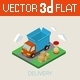 Flat 3D Isometric Delivery Van  - GraphicRiver Item for Sale
