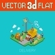 Flat 3D Isometric Delivery Loading Concept - GraphicRiver Item for Sale