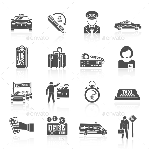 GraphicRiver Taxi Icons Set 9610308