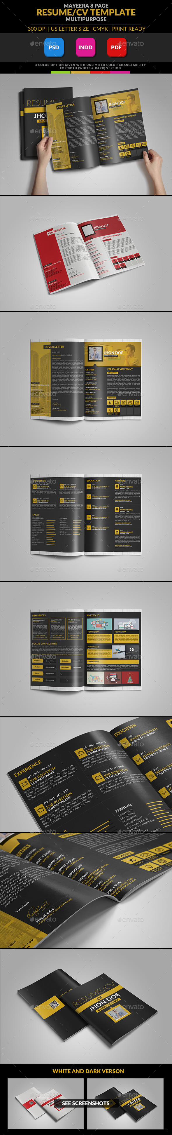 GraphicRiver Mayeera A Multipurpose Resume CV Template 9558875